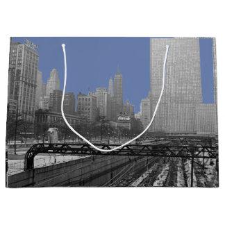 Chicago Rail Yards Loop Railroad 1960's Photo Large Gift Bag