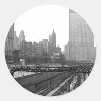 Chicago Rail Yards Michigan Avenue 1960's Photo Classic Round Sticker