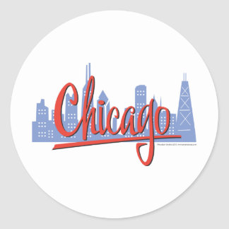 CHICAGO-RED CLASSIC ROUND STICKER