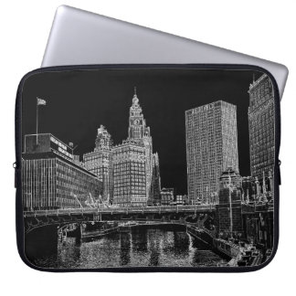 Chicago River 1967 Wrigley Building Sun Times Bldg Computer Sleeves