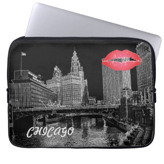Chicago River 1967 Wrigley Building Sun Times Bldg Laptop Sleeve