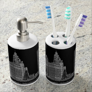 Chicago River 1967 Wrigley Building Sun Times Bldg Soap Dispenser And Toothbrush Holder