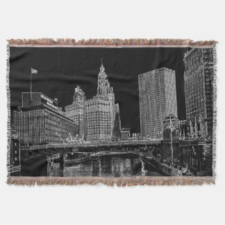 Chicago River 1967 Wrigley Building Sun Times Bldg Throw Blanket