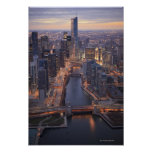 Chicago River and Trump Tower from above Poster