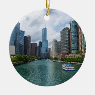 Chicago River and Trump Tower Round Ceramic Decoration