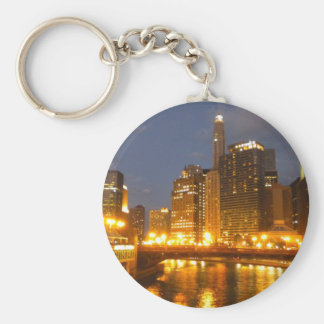 Chicago River at night Basic Round Button Key Ring