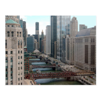 Chicago River Cityscape - Along the Main Branch Postcard
