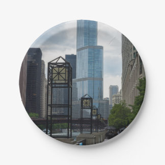 Chicago River Walk 7 Inch Paper Plate