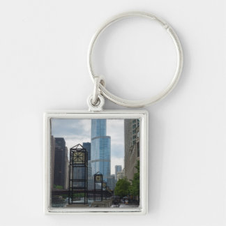 Chicago River Walk Silver-Colored Square Key Ring