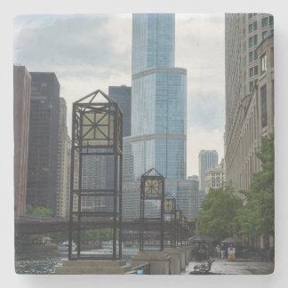 Chicago River Walk Stone Beverage Coaster