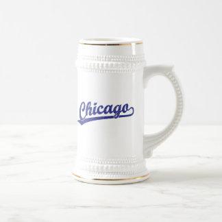 Chicago script logo in blue mugs