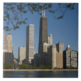 Chicago skyline and Lake Michigan, Lake Shore Large Square Tile