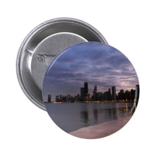 Chicago Skyline at Dusk Buttons