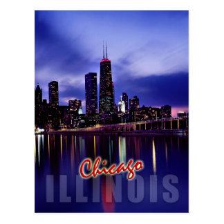 Chicago skyline at dusk postcard