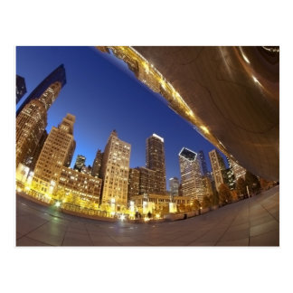 Chicago skyline at dusk postcards