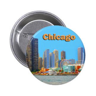 Chicago Skyline At Navy Pier 6 Cm Round Badge