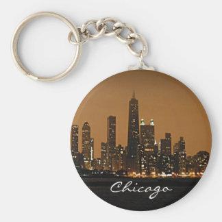 Chicago Skyline at night at John Hancock Center Basic Round Button Key Ring