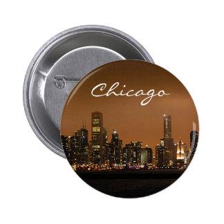 Chicago Skyline at night at Navy Pier Button