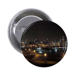Chicago Skyline at Night Buttons