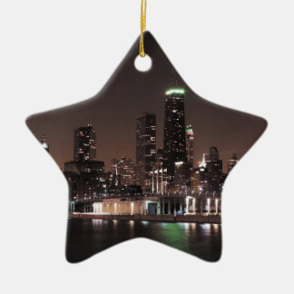 Chicago Skyline at Night Ceramic Star Decoration