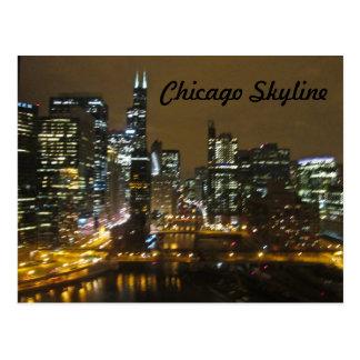 Chicago Skyline at Night Postcard