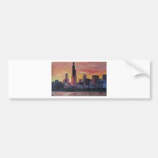 Chicago Skyline at Sunset Bumper Sticker