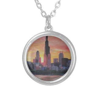Chicago Skyline at Sunset Pendant