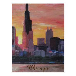 Chicago Skyline at Sunset Postcard