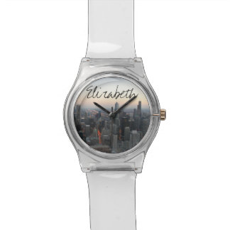 Chicago Skyline at Sunset with a Name Watches