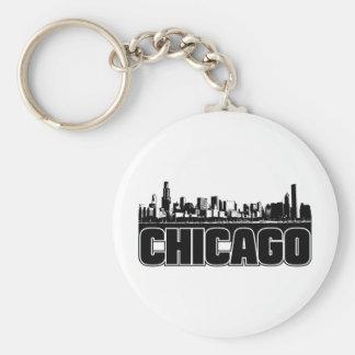 Chicago Skyline Basic Round Button Key Ring