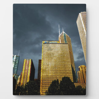 Chicago Skyline Before A Storm Plaque