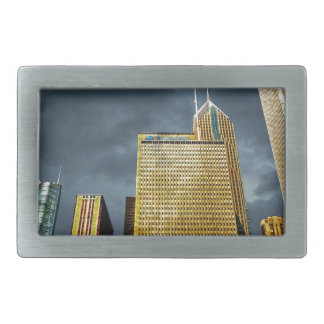 Chicago Skyline Before A Storm Rectangular Belt Buckles