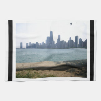 Chicago Skyline Bordered Tea Towel