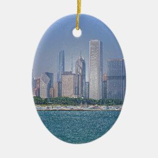 Chicago Skyline Ceramic Oval Decoration