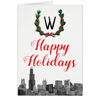 Chicago Skyline Christmas Wreath Happy Holidays Card
