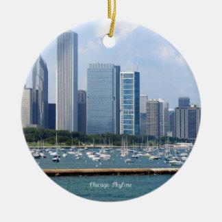 Chicago Skyline Round Ceramic Decoration