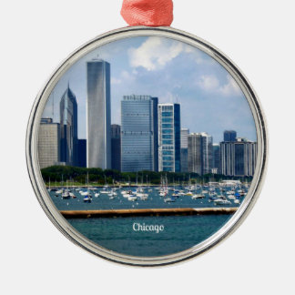 Chicago Skyline Silver-Colored Round Decoration