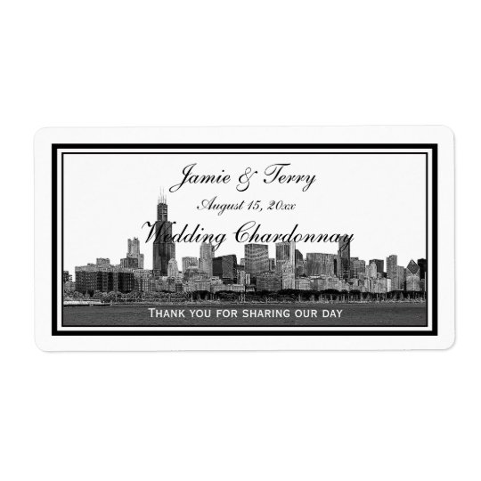 Chicago Skyline Etched Framed H Wine Label Shipping Label
