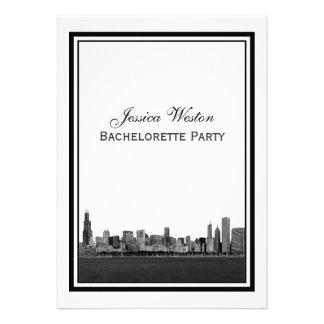 Chicago Skyline Etched Framed V Bachelorette Cards