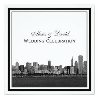 Chicago Skyline Etched Framed Wedding 13 Cm X 13 Cm Square Invitation Card
