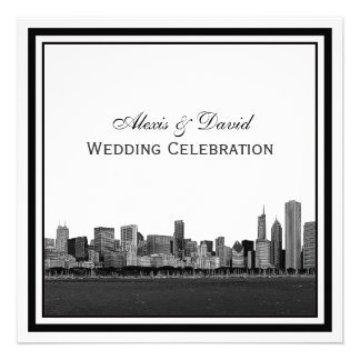 Chicago Skyline Etched Framed Wedding Personalized Invites