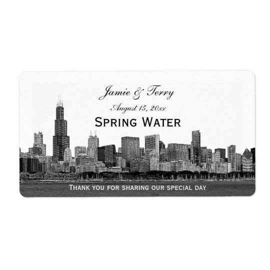 Chicago Skyline Etched H Water Bottle Shipping Label