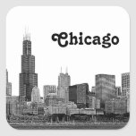 Chicago Skyline Etched Square Stickers