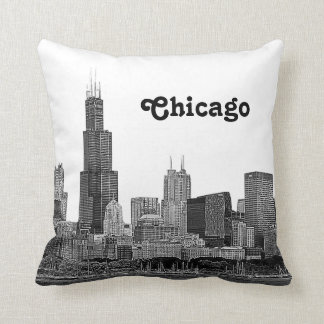 Chicago Skyline Etched Throw Cushion