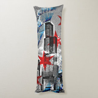 Chicago Skyline Flag Design Body Pillow