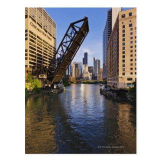 Chicago Skyline from the Kinzie St Bridge Postcard