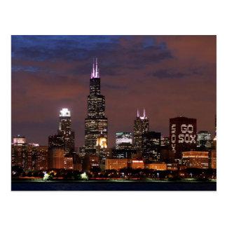 Chicago Skyline Go Sox Postcard