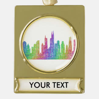Chicago skyline gold plated banner ornament