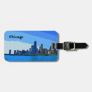 Chicago Skyline in Collage Paint Luggage Tag