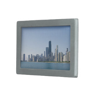 Chicago Skyline in Deeper Blues Rectangular Belt Buckles